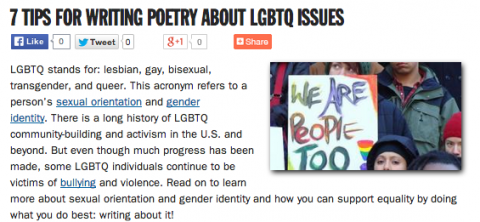 7 Tips for Writing Poetry About LGBTQ Issues